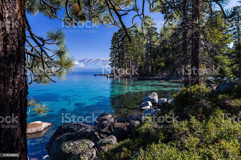 Tahoe's clear, turquoise waters surrounded by pine forest and mountains stock photo
