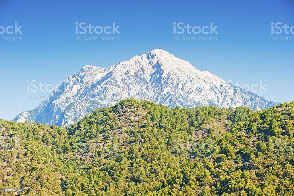Tahtali famous mountain in Turkey, and the cable car royalty-free stock photo