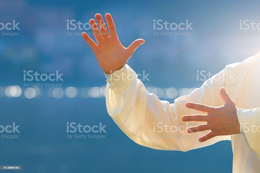 Tai chi chuan hands stock photo