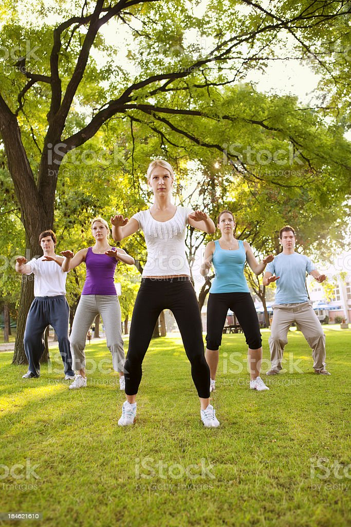 Tai Chi: Group of Young People Practicing Outdoor royalty-free stock photo