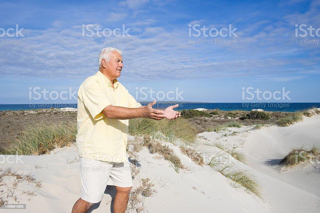 Tai Chi on the beach. royalty-free stock photo