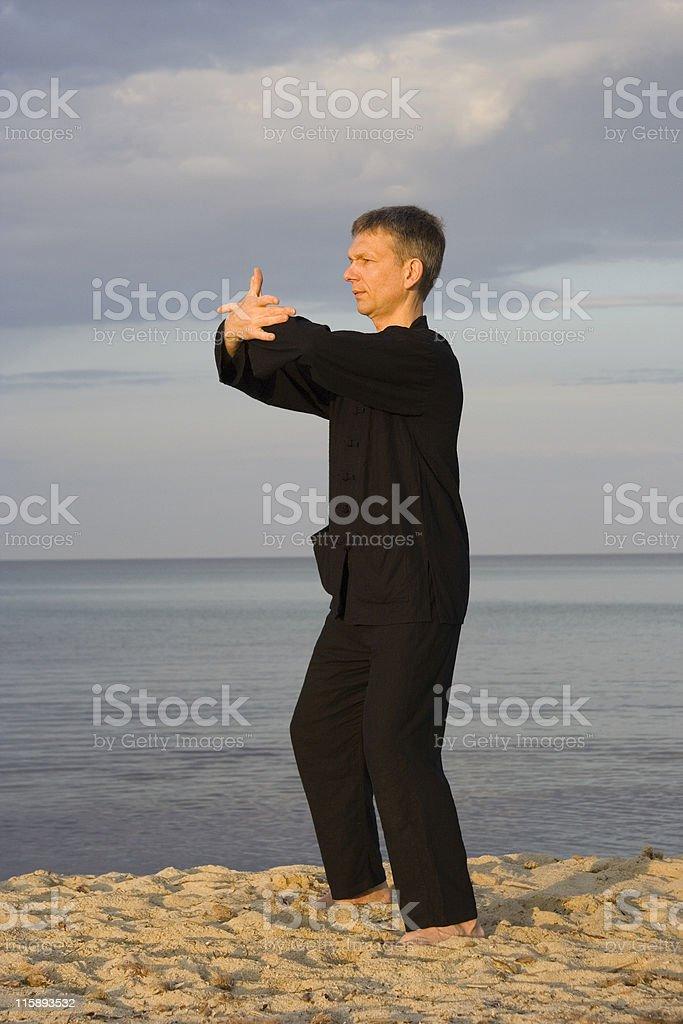 tai chi - posture cross hands royalty-free stock photo