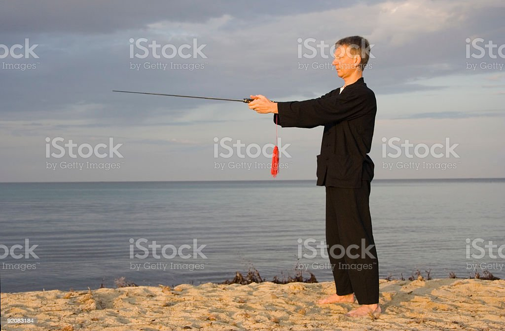 tai chi - posture the compass royalty-free stock photo