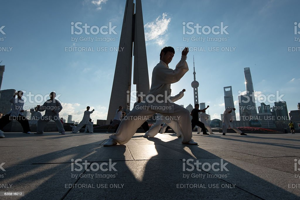 Tai Chi practitioners in the early morning stock photo