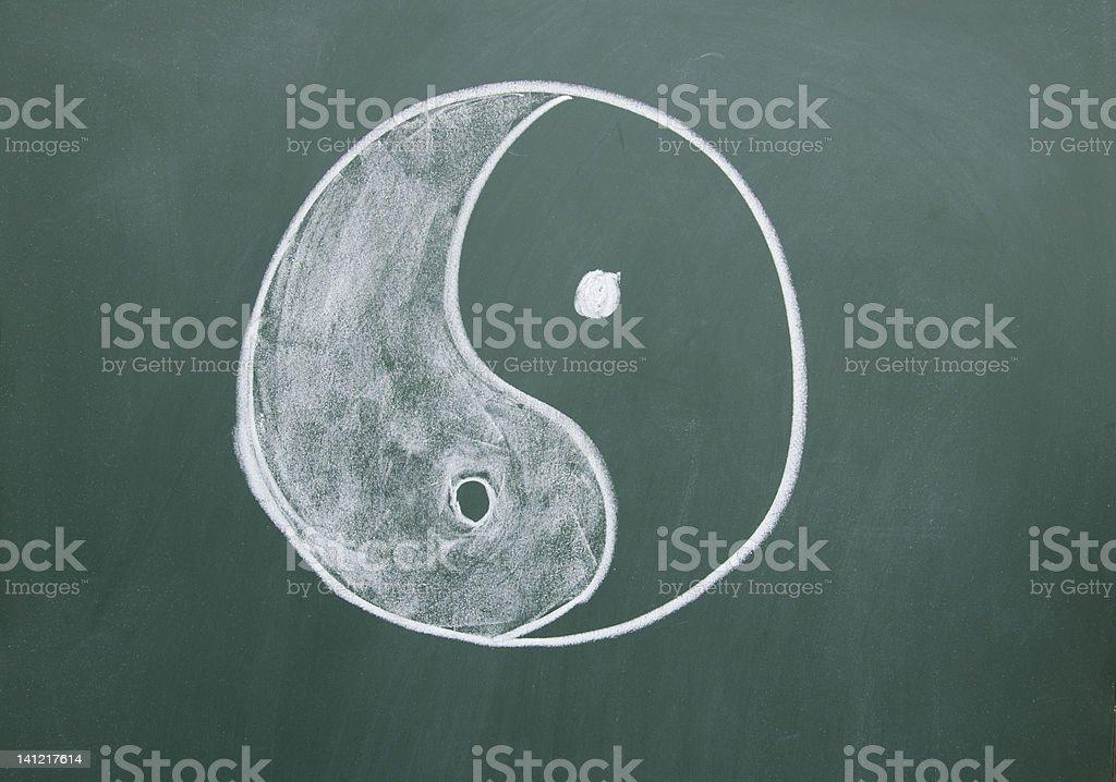 Tai Chi symbol drawn with chalk on the blackboard stock photo