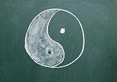 Tai Chi symbol drawn with chalk on the blackboard