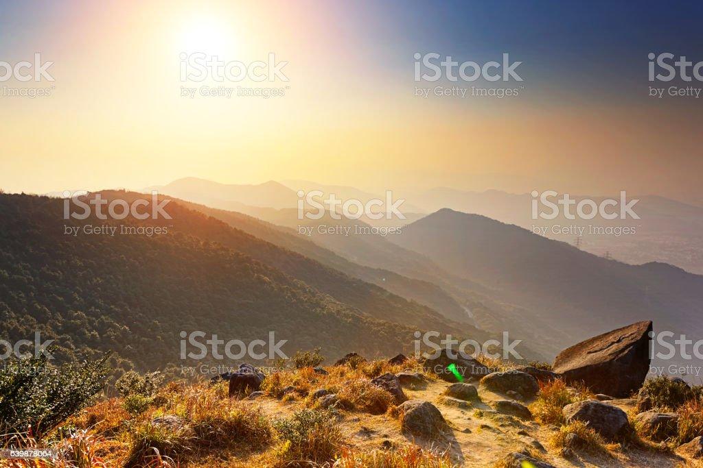 Tai Mo Shan sunset stock photo