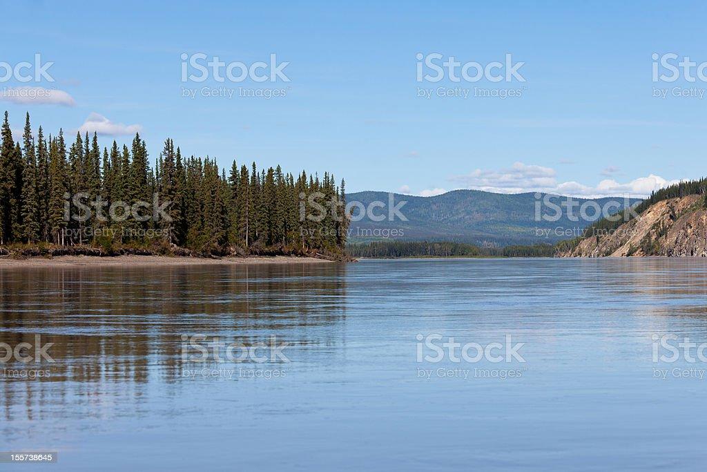 Taiga hills at Yukon River near Dawson City royalty-free stock photo