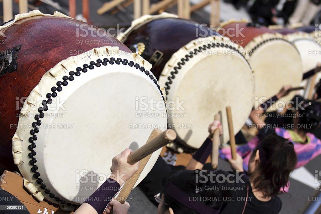 Taiko drum performer at Ohara Matsuri Festival in Kagoshima stock photo