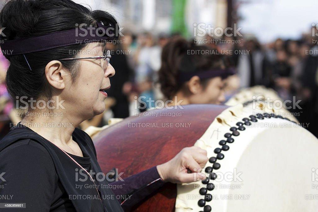 Taiko performer im Ohara Matsuri Festival Lizenzfreies stock-foto