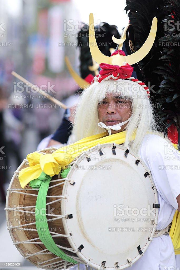 Taiko drum performer at Ohara Matsuri Festival stock photo