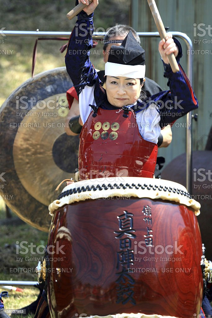 Taiko drummer at festival stock photo