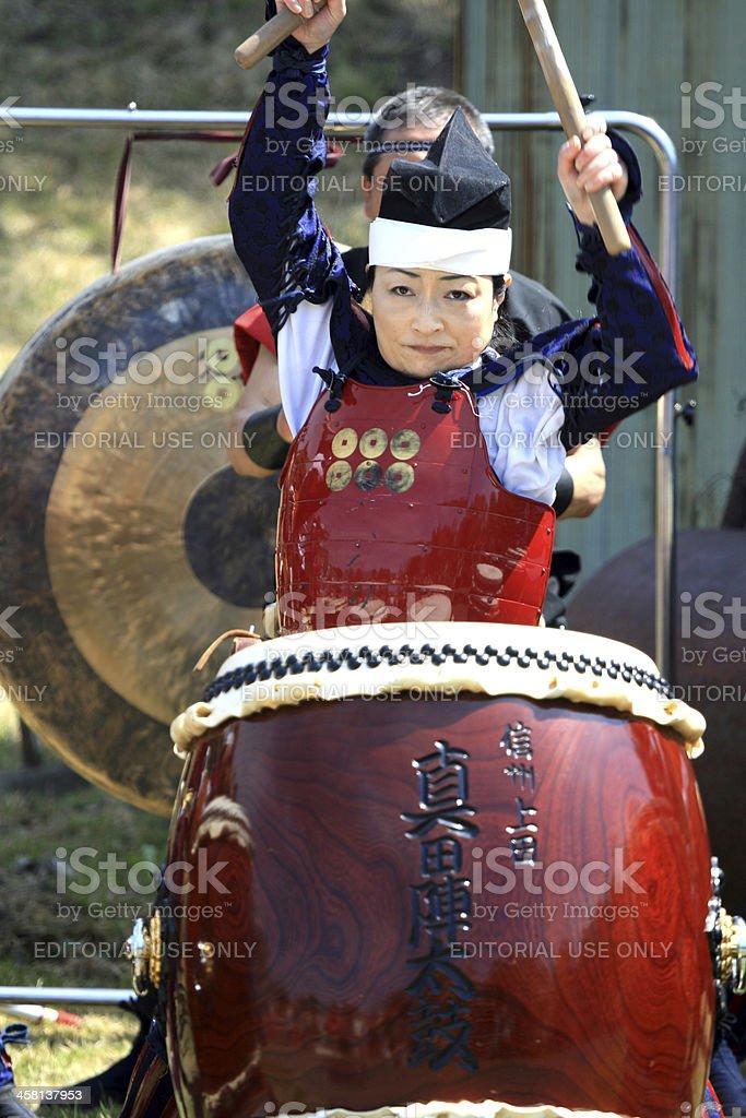 Taiko drummer at festival stock photo