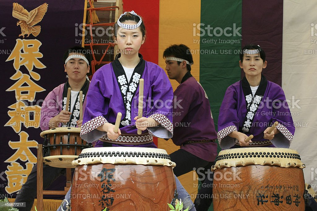 Taiko drummer at japanese festival stock photo