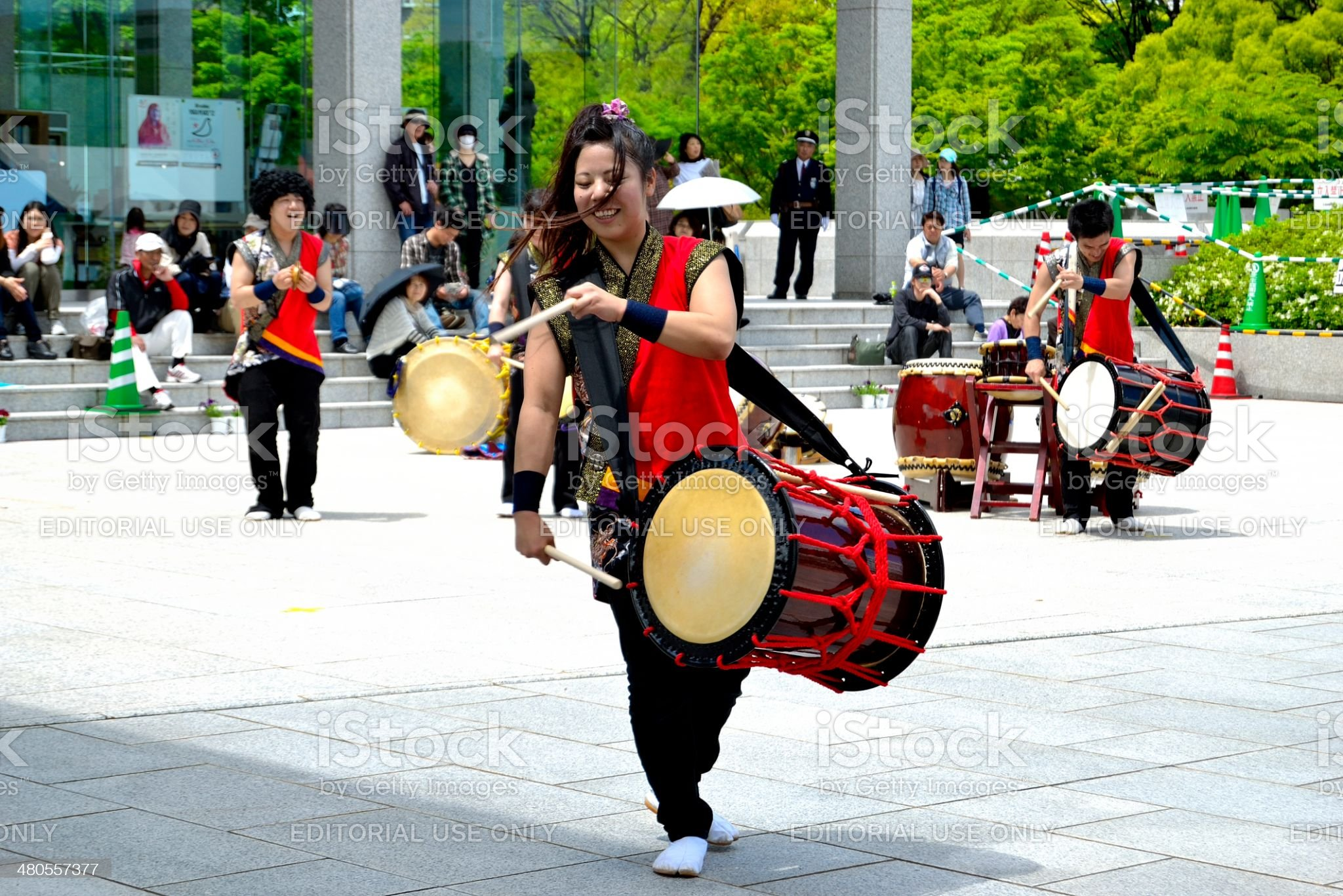 Taiko drummers royalty-free stock photo