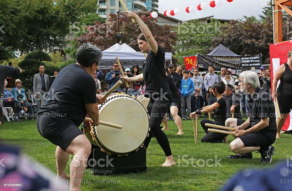 Taiko Drumming with Miyake-kai Club, Japanese Festival in Canada stock photo