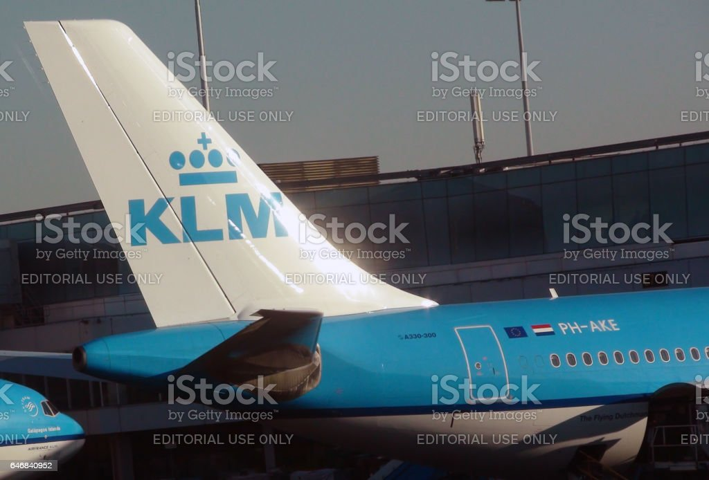 Tail And Nose Of KLM Passenger Airplane Parked At Schiphol Airport.Amsterdam.Europe stock photo