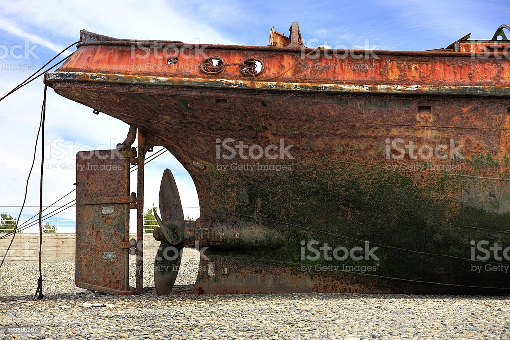 Tail End of Beached Ship royalty-free stock photo