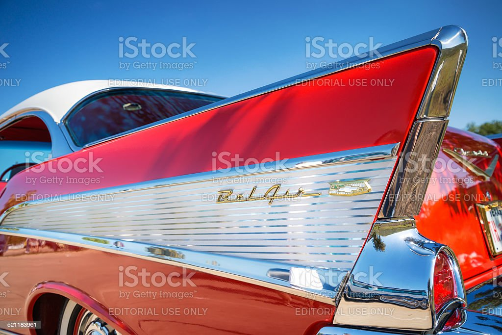 Tail fin of 1957 Chevrolet Bel Air classic car stock photo