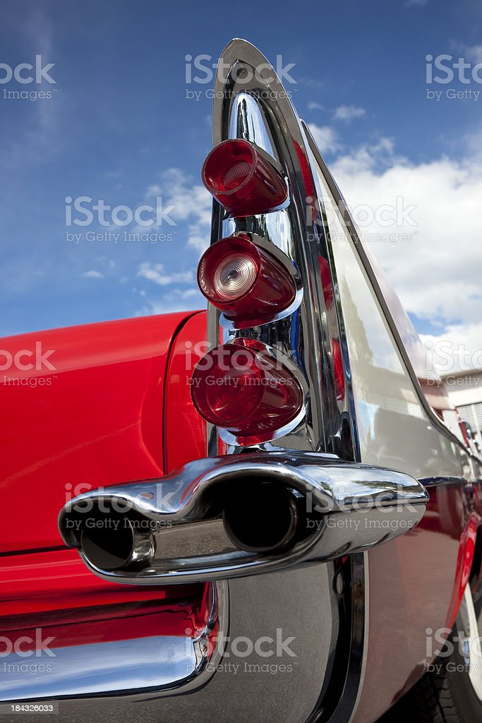 Tail Fin of Red Classic Car stock photo