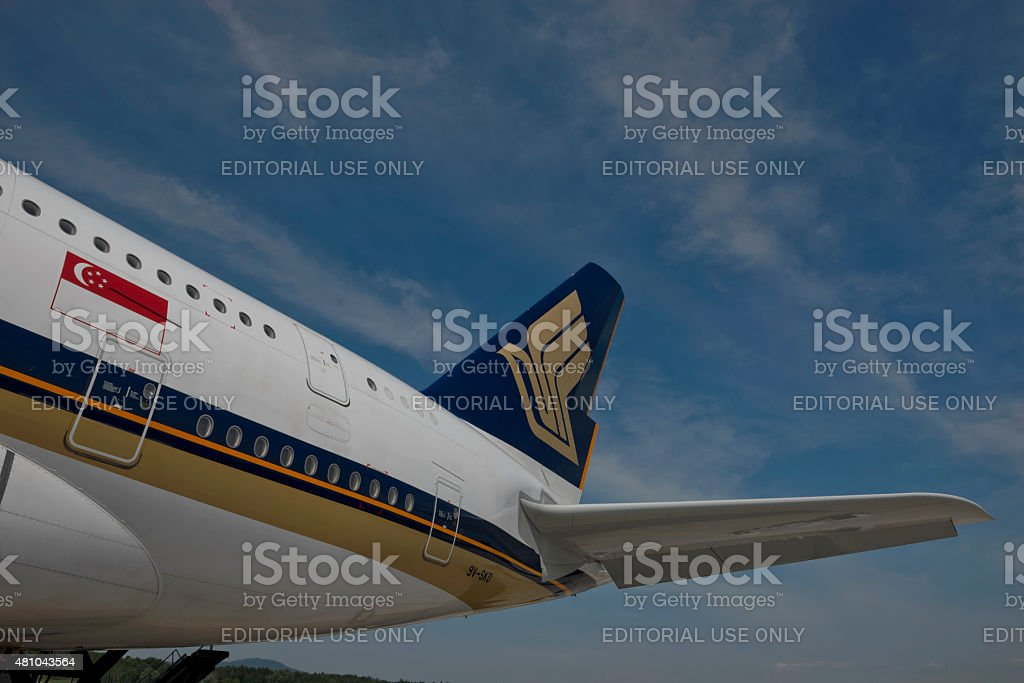 Tail Fin of Singapore Airlines Aircraft stock photo