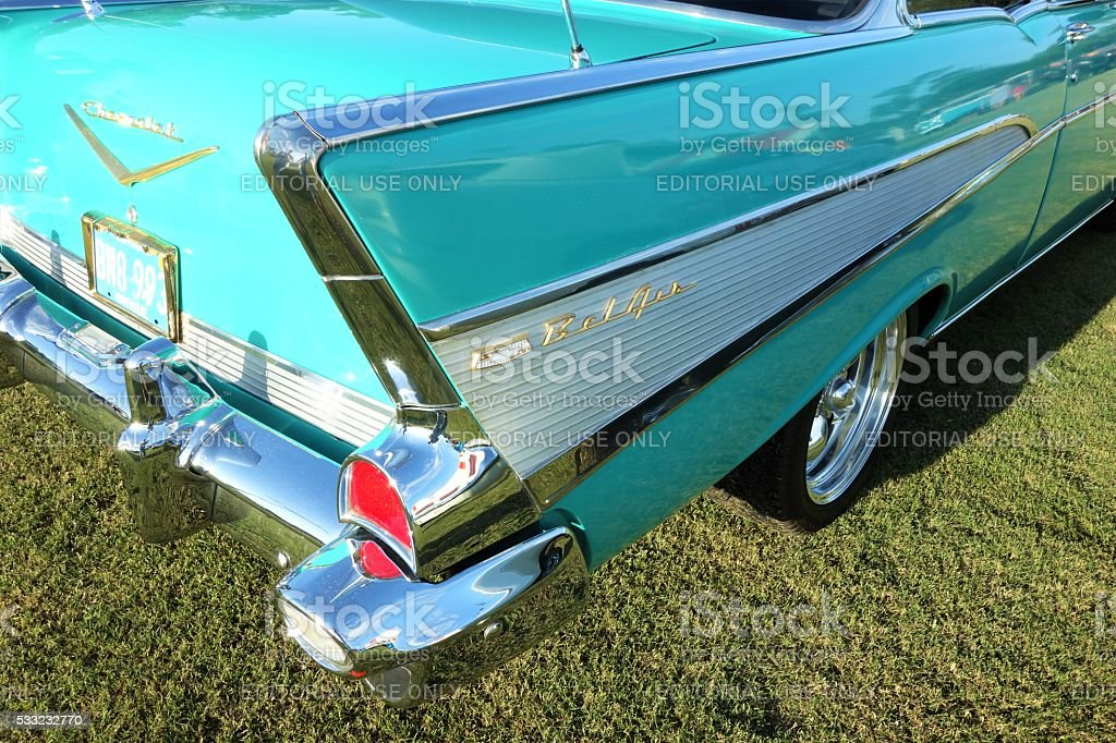 Tail fin on vintage Chevy Bel Air stock photo