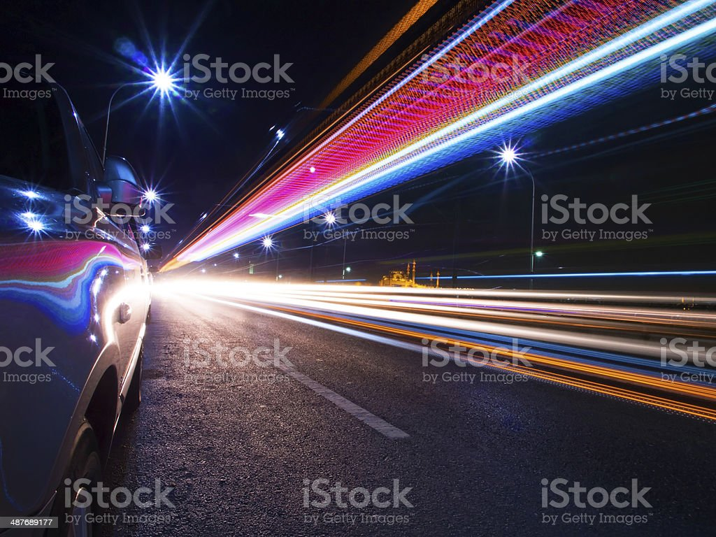 Tail Lights of The Cars at The Galata Bridge stock photo