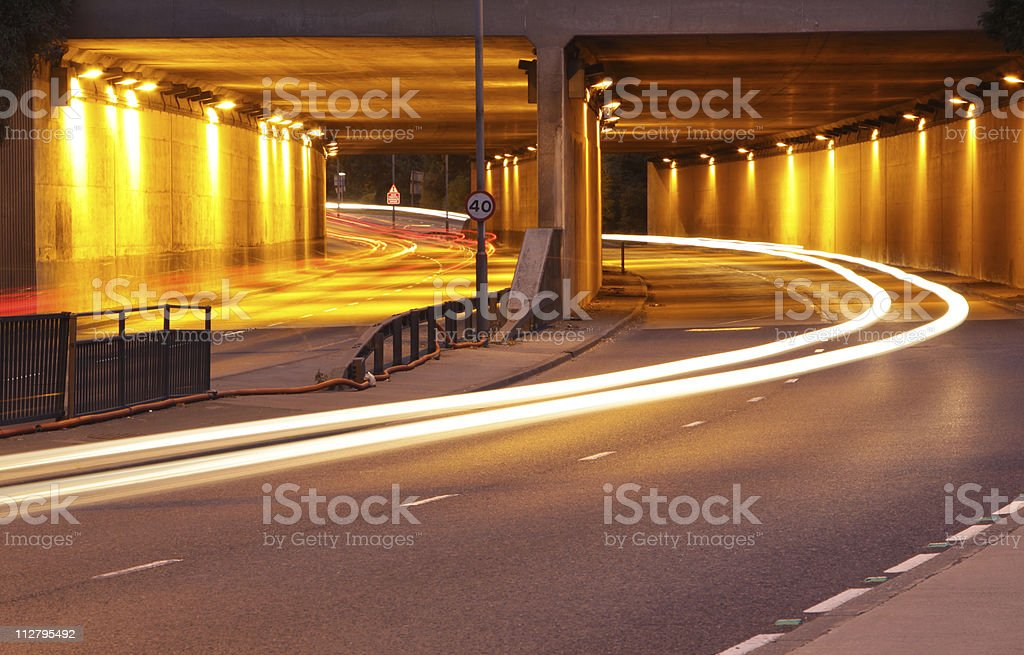 tail lights under a bridge. royalty-free stock photo