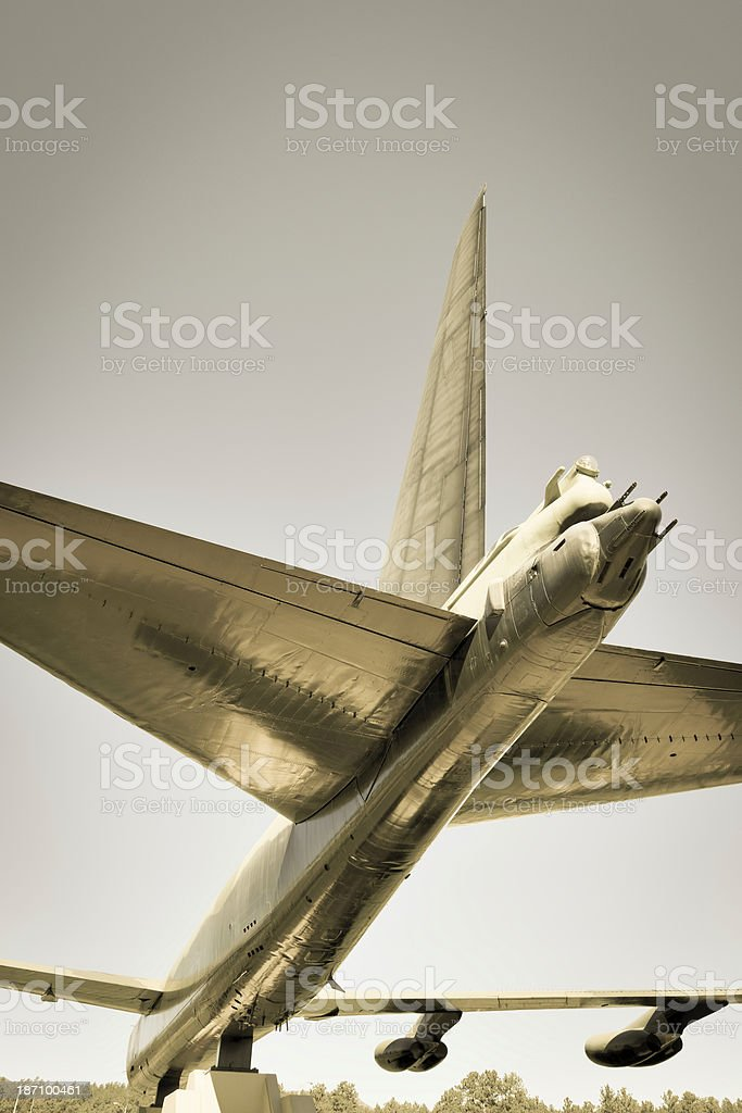 Tail of B-52 Stratofortress bomber low angle view royalty-free stock photo