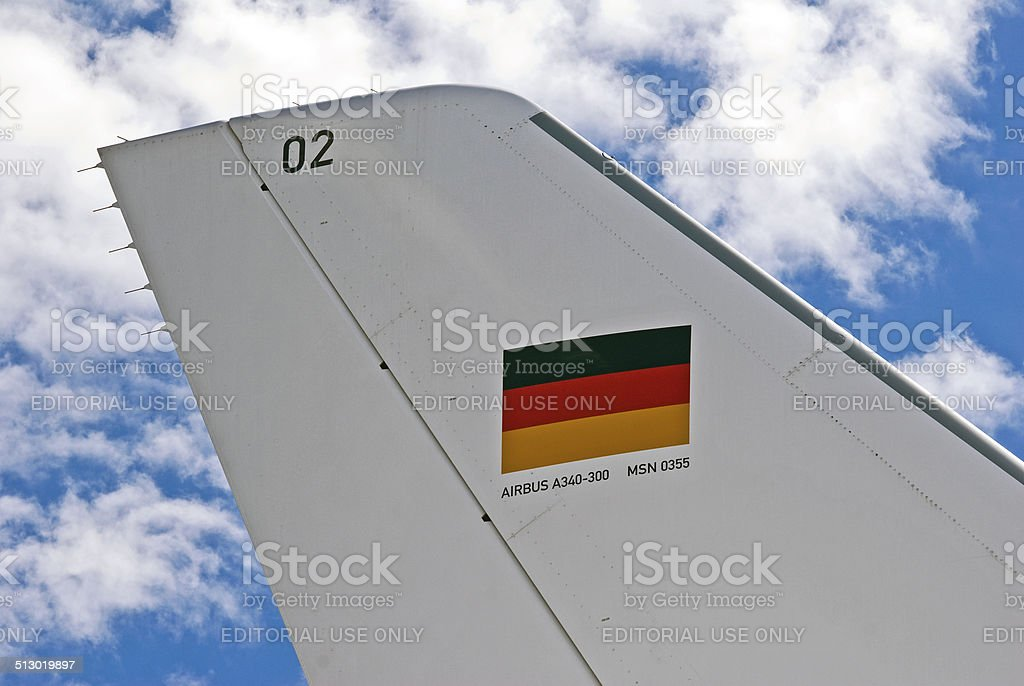 Tail of German Presidential Aircraft 'Theodor Heuss' stock photo