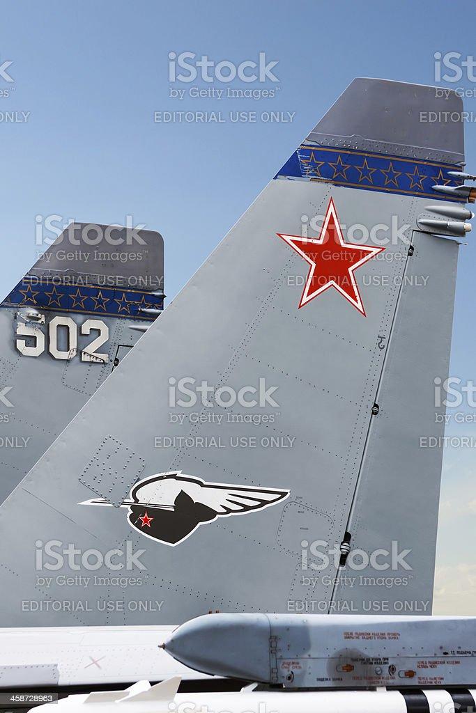 Tail of Su-30MKK royalty-free stock photo