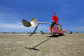 Tail rotor blade of fishing boats and red flags