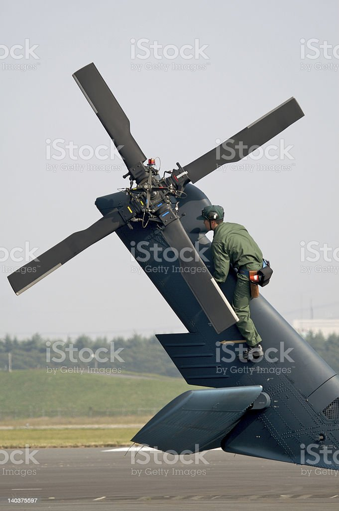 Tail rotor inspection stock photo