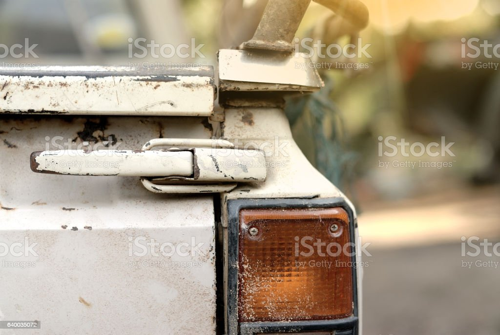tailgate handle and taillight stock photo