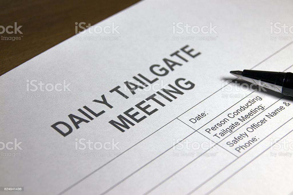 Tailgate Meeting Form stock photo