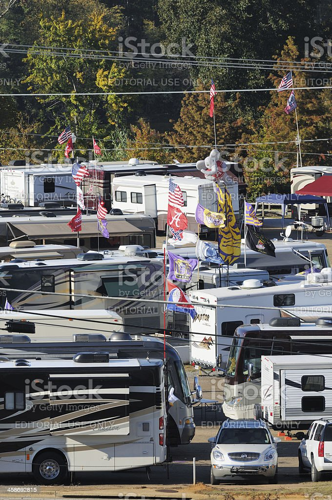 RV tailgaters ready for football stock photo