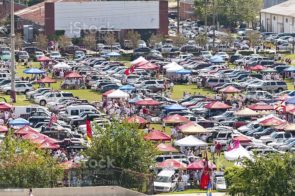 Tailgating Before Start of College Football Game stock photo