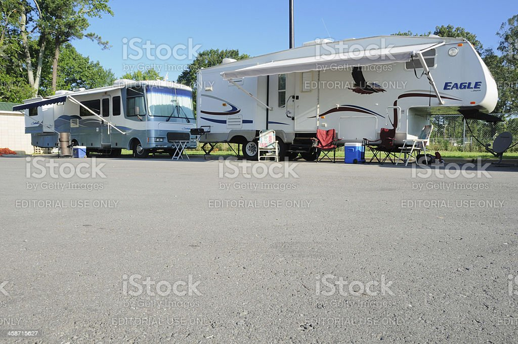 Tailgating campers stock photo