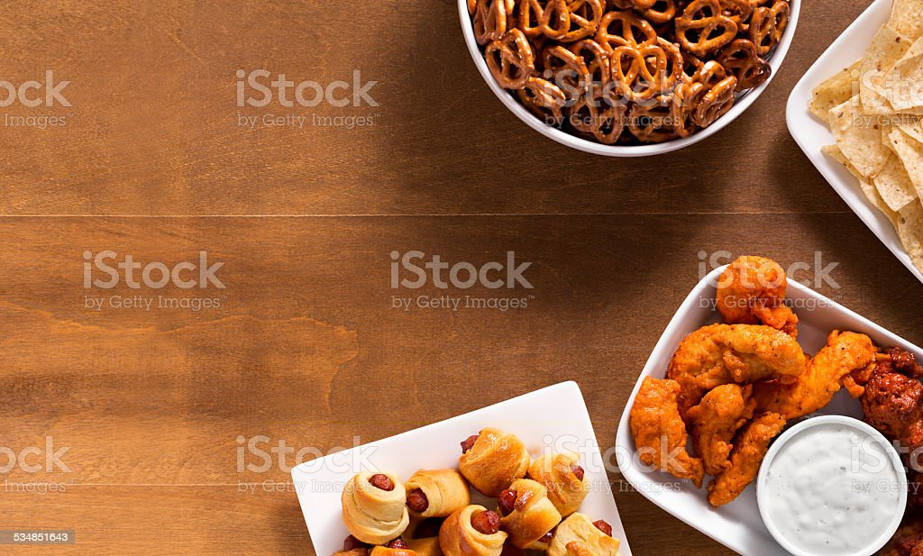 Tailgating food spread stock photo