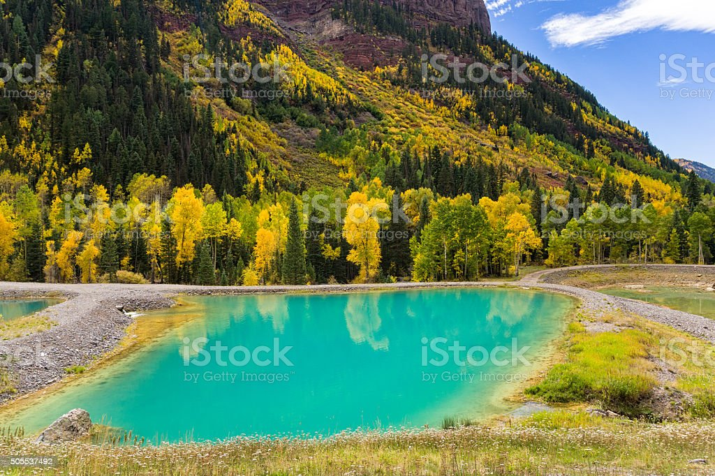 Tailings Ponds with Fall Aspens stock photo