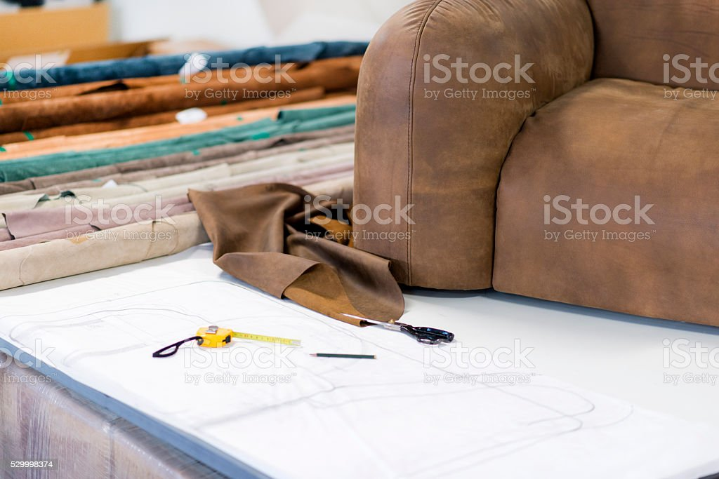 Tailor Accessory Scissors and Furniture Design Illustration Sketch stock photo