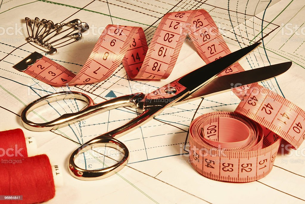 Tailor Clothing Accessory, Scissors Ruler Stitching, Sewing Objects Tool royalty-free stock photo