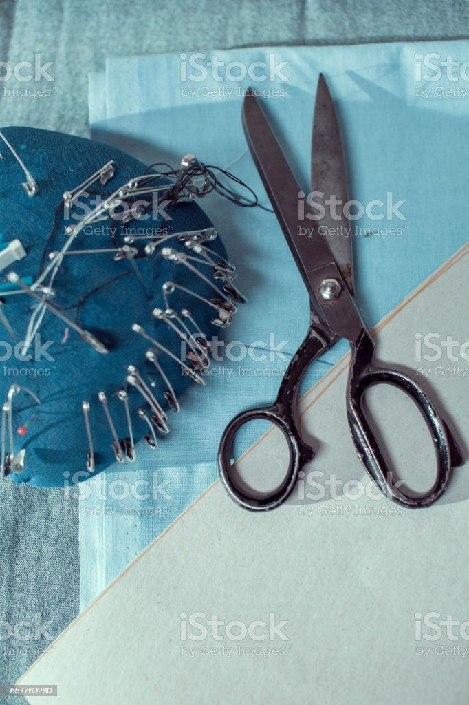 Tailor's accessories stock photo