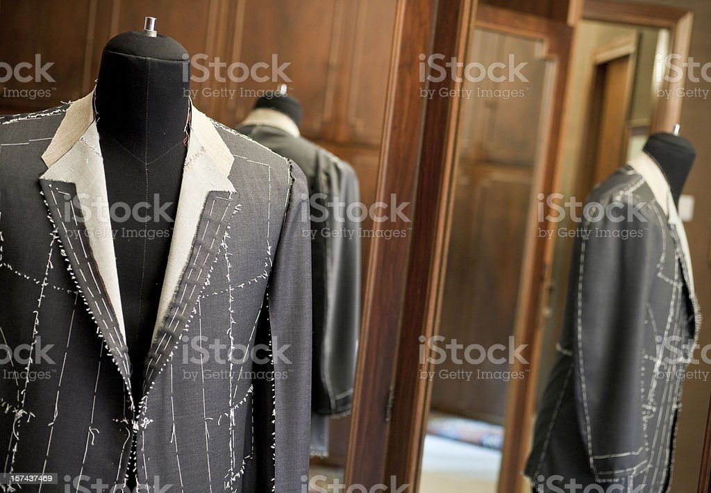 tailor's jacket and mirror large view stock photo
