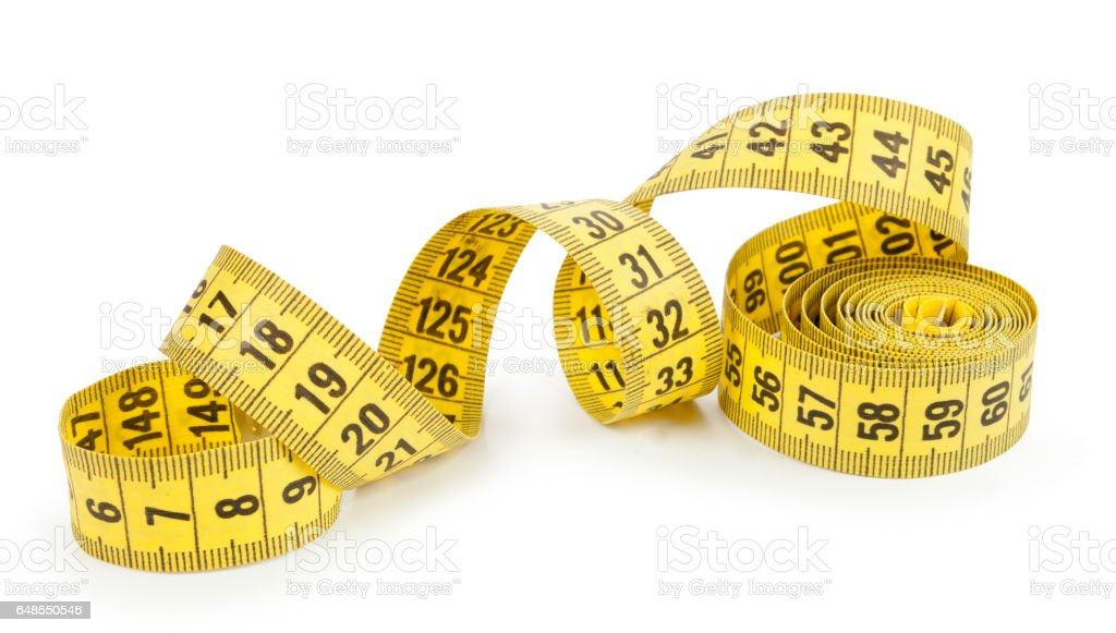 tailor's tape isolated on white background stock photo