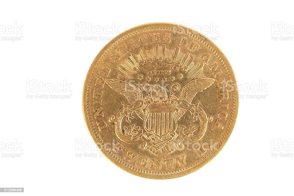 Tails $20 Gold 1876 stock photo