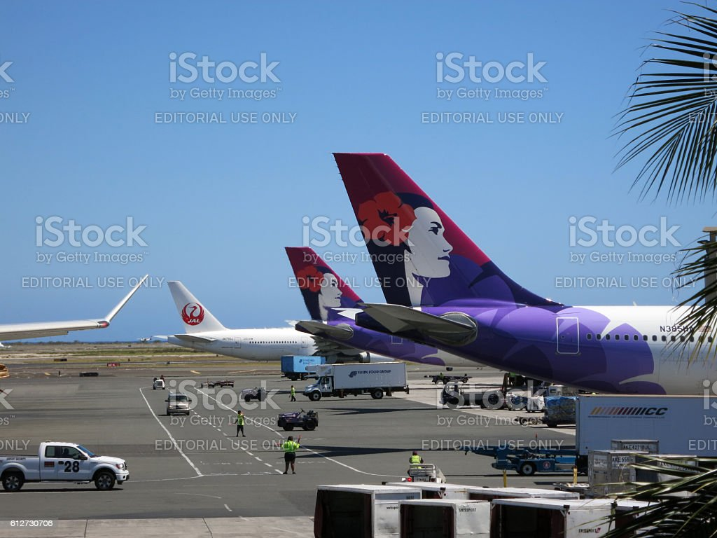 Tails of Hawaiian Airlines and Japan Airlines airplanes stock photo