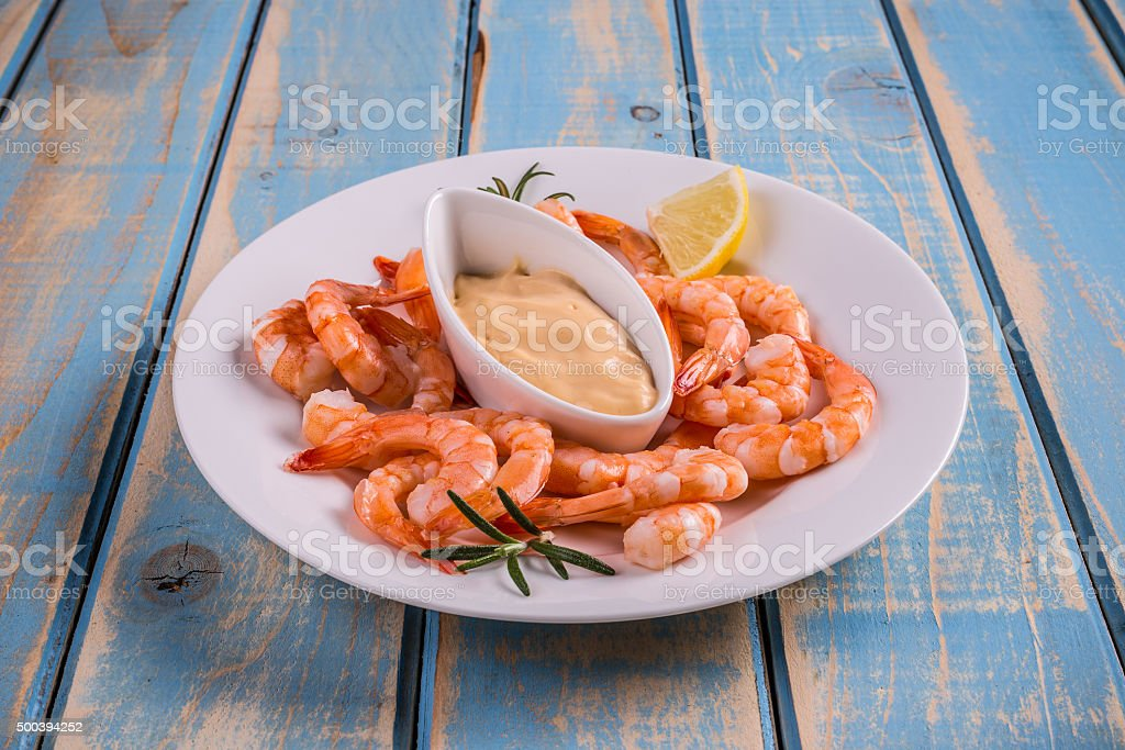 Tails of shrimps stock photo
