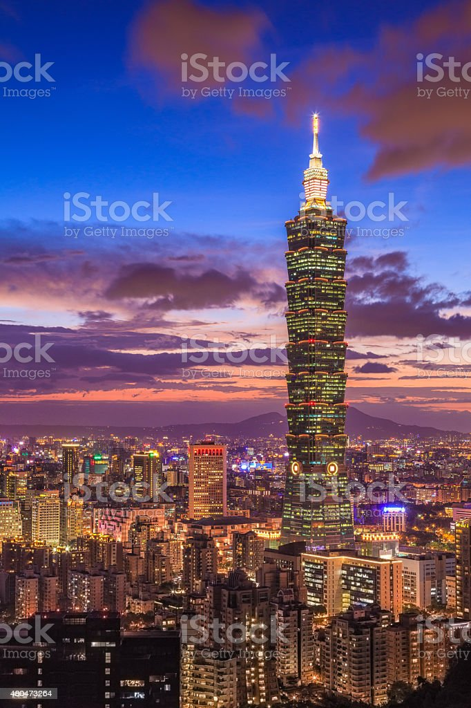 Taipei 101 at night, Taiwan stock photo