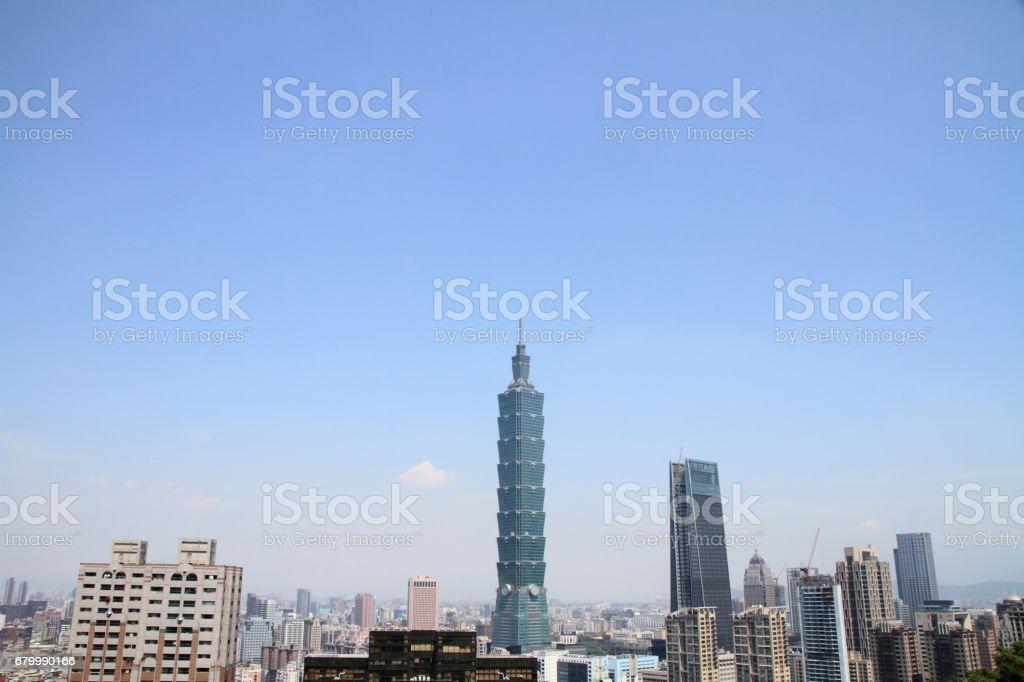 Taipei 101 from Xiang mountain in Taipei, Taiwan stock photo